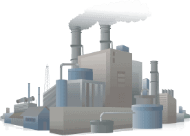 Illustration of chemical factory