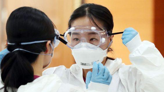 Healthcare worker wearing N95 mask